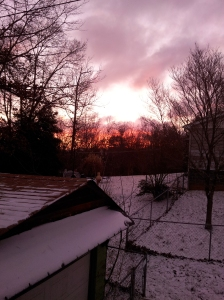 sunrise through the kitchen window