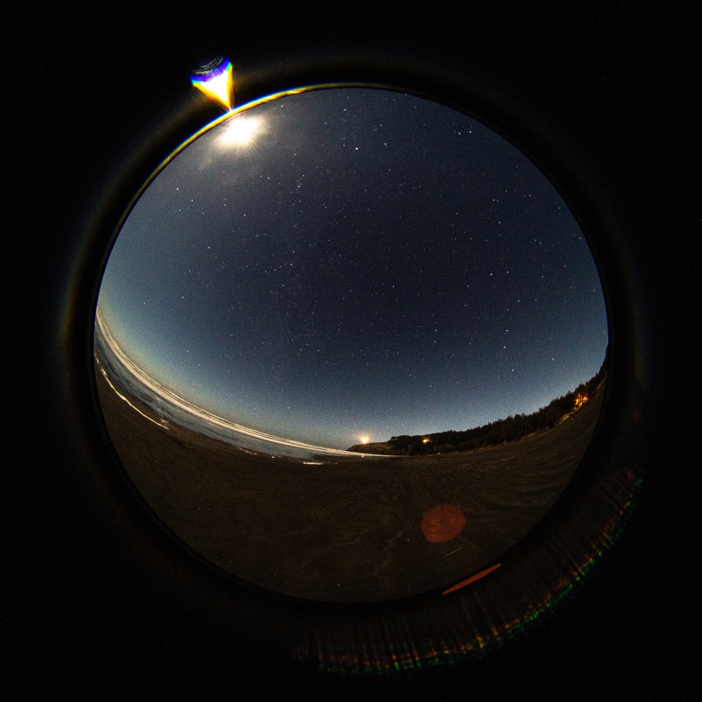fisheye photograph of the beach and starry sky at night